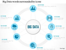 0115 Big Data Words Surrounded By Icons Showing Data Production Ppt Slide