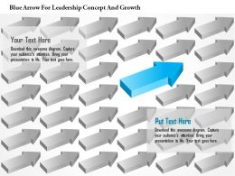 0115 Blue Arrow For Leadership Concept And Growth Powerpoint Template