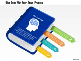 0115 blue book with four steps process powerpoint template