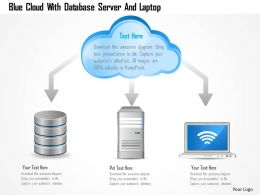 0115 Blue Cloud With Database Server And Laptop Powerpoint Template