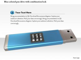 0115 Blue Colored Pen Drive With Combination Lock Image Graphic For Powerpoint
