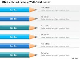 0115 Blue Colored Pencils With Text Boxes Powerpoint Template