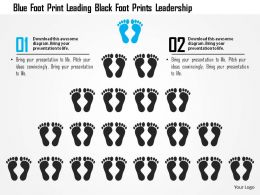 0115 Blue Foot Print Leading Black Foot Prints Leadership PowerPoint Template