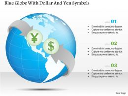 0115 Blue Globe With Dollar And Yen Symbols Powerpoint Template