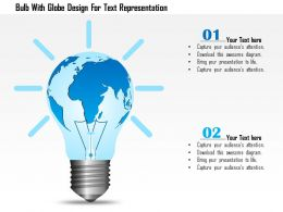 0115 Bulb With Globe Design For Text Representation Powerpoint Template