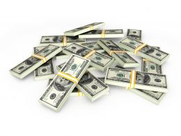 0115 Bundles Of Dollars For Finance Stock Photo