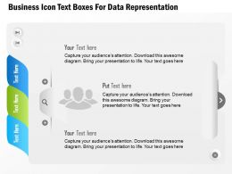 0115 Business Icon Text Boxes For Data Representation Powerpoint Template
