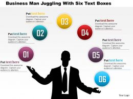 0115 Business Man Juggling With Six Text Boxes Powerpoint Template