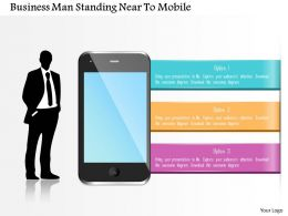 0115 Business Man Standing Near To Mobile Powerpoint Template