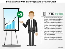 0115 Business Man With Bar Graph And Growth Chart Powerpoint Template