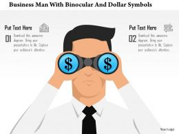 0115 Business Man With Binocular And Dollar Symbols Powerpoint Template