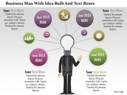 0115 Business Man With Idea Bulb And Text Boxes Powerpoint Template