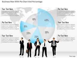 0115 Business Men With Pie Chart And Percentage Powerpoint Template