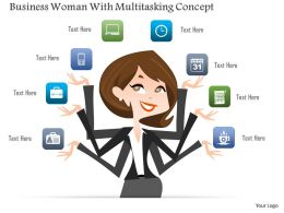 0115 Business Woman With Multitasking Concept Powerpoint Template