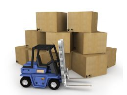 0115 Cargo Shipping Truck With Cartons Stock Photo