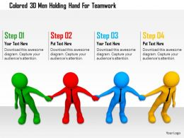 0115 Colored 3d Men Holding Hand For Teamwork Ppt Graphics Icons