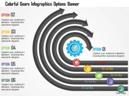0115 Colorful Gears Infographics Options Banner Powerpoint Template