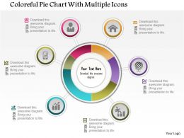 0115 Colorful Pie Chart With Multiple Icons Powerpoint Template
