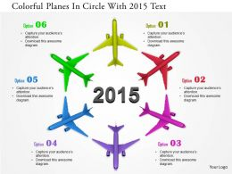 0115 Colorful Planes In Circle With 2015 Text Image Graphics For Powerpoint