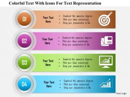 0115 Colorful Text With Icons For Text Representation Powerpoint Template