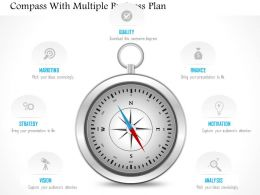 0115 Compass With Multiple Business Plan Powerpoint Template