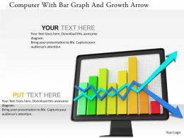 0115 Computer With Bar Graph And Growth Arrow Image Graphics For Powerpoint