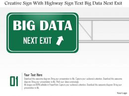 0115 Creative Sign With Highway Sign Text Big Data Next Exit Ppt Slide