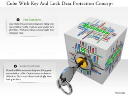 0115 Cube With Key And Lock Data Protection Concept Image Graphic For Powerpoint