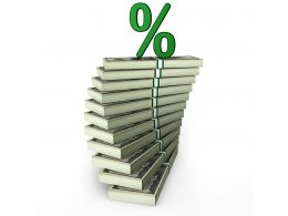0115 Dollar Stack And Green Percentage Value Stock Photo