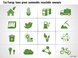 0115 Eco Energy Icons Green Sustainable Recyclable Concepts Ppt Slide
