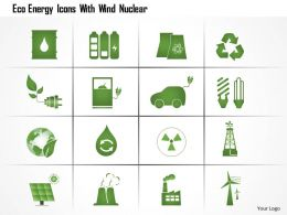 0115 Eco Energy Icons With Wind Nuclear Ppt Slide