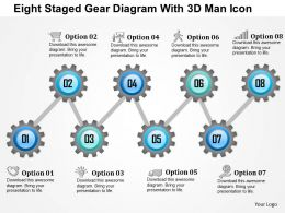 0115 Eight Staged Gear Diagram With 3d Man Icon Powerpoint Template