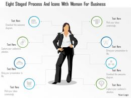 0115 Eight Staged Process And Icons With Woman For Business Powerpoint Template