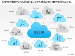 0115 Exponentially Growing Big Data With Icons Surrounding Cloud Ppt Slide