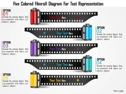 0115 Five Colored Filmroll Diagram For Text Representation Powerpoint Template