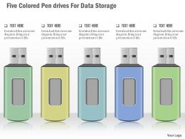 0115 Five Colored Pen Drives For Data Storage Powerpoint Template