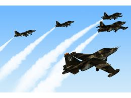 0115 Five Jet Planes In Sky Stock Photo