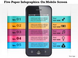 0115 Five Paper Infographics On Mobile Screen Powerpoint Template