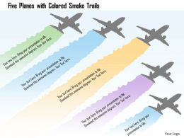 0115 Five Planes With Colored Smoke Trails Powerpoint Template