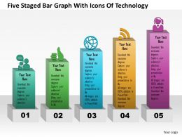 0115 Five Staged Bar Graph With Icons Of Technology Powerpoint Template