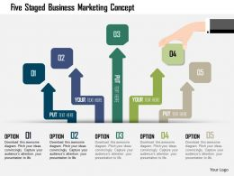 0115 Five Staged Business Marketing Concept Powerpoint Template