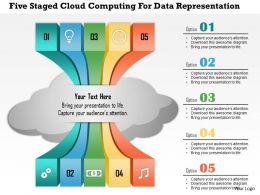 0115 Five Staged Cloud Computing For Data Representation PowerPoint Template