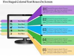 0115 Five Staged Colored Text Boxes On Screen Powerpoint Template