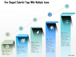 0115 Five Staged Colorful Tags With Multiple Icons Powerpoint Template