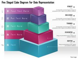 0115 Five Staged Cube Diagram For Data Representation Powerpoint Template