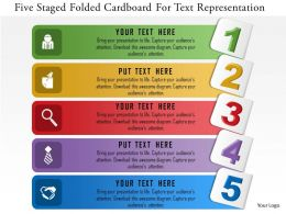 0115 Five Staged Folded Cardboard For Text Representation Powerpoint Template
