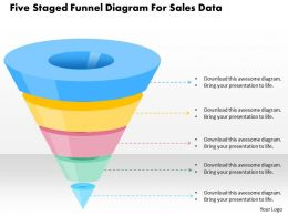 0115 Five Staged Funnel Diagram For Sales Data Powerpoint Template