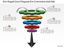 0115 Five Staged Gear Diagram For Conversion And Sale Powerpoint Template
