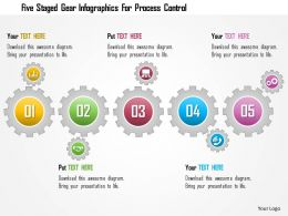 0115 Five Staged Gear Infographics For Process Control Powerpoint Template