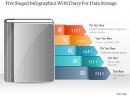 0115 Five Staged Infographics With Diary For Data Storage Powerpoint Template